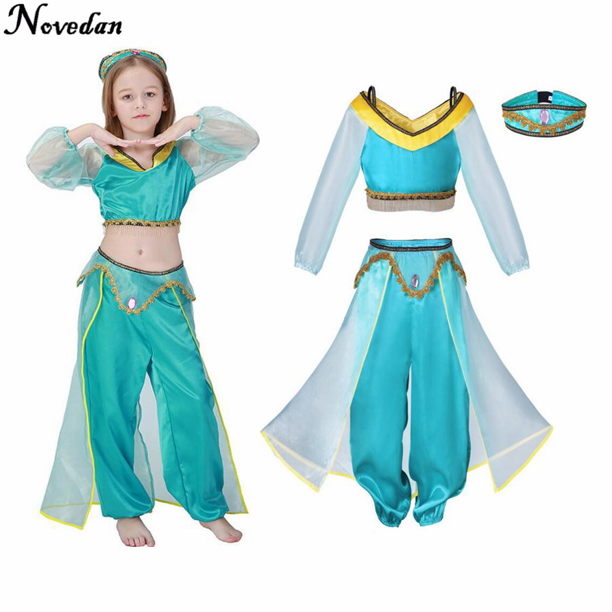 Girls Aladdin Lamp Princess Jasmine Costumes Cosplay For Children Halloween Party Belly Dance Dress Indian Princess Costume