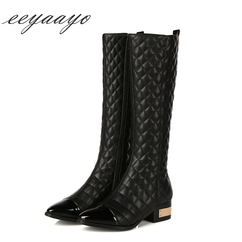 New Genuine Leather Winter Women Knee-High Boots Middle Heel Round Toe Plaid Sexy Ladies Shoes Black Woman Cow Leather Boots стоимость