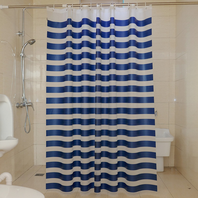 Hot Sale Navy European Classic Blue And White Waterproof Mildew Bathroom Curtain Stripes Shower