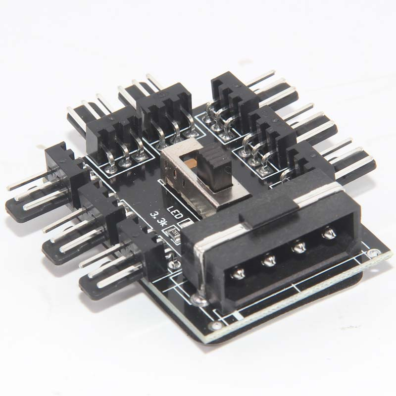 PC 1 to 8 <font><b>4Pin</b></font> Molex Cooler Cooling Fan Hub <font><b>Splitter</b></font> Cable <font><b>PWM</b></font> 3Pin Power Supply Speed Controller Adapter For BTC Miner Mining image