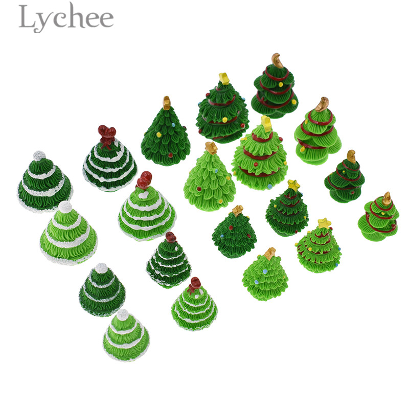 Lychee 5pcs Christmas Tree Model Miniatures Creative Resin Figurines Home Mini Decoration Festival Gifts