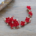 Charm Floral hairband Crystal Beads red crown women hair ornaments golden bridal pearl wedding photography accessories youmeng