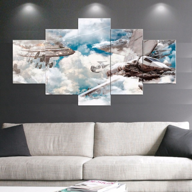 5 Panel Star Wars Canvas Painting Movie Painting Prints Posters Wall Art Decorative Canvas Wall Art & 5 Panel Star Wars Canvas Painting Movie Painting Prints Posters Wall ...