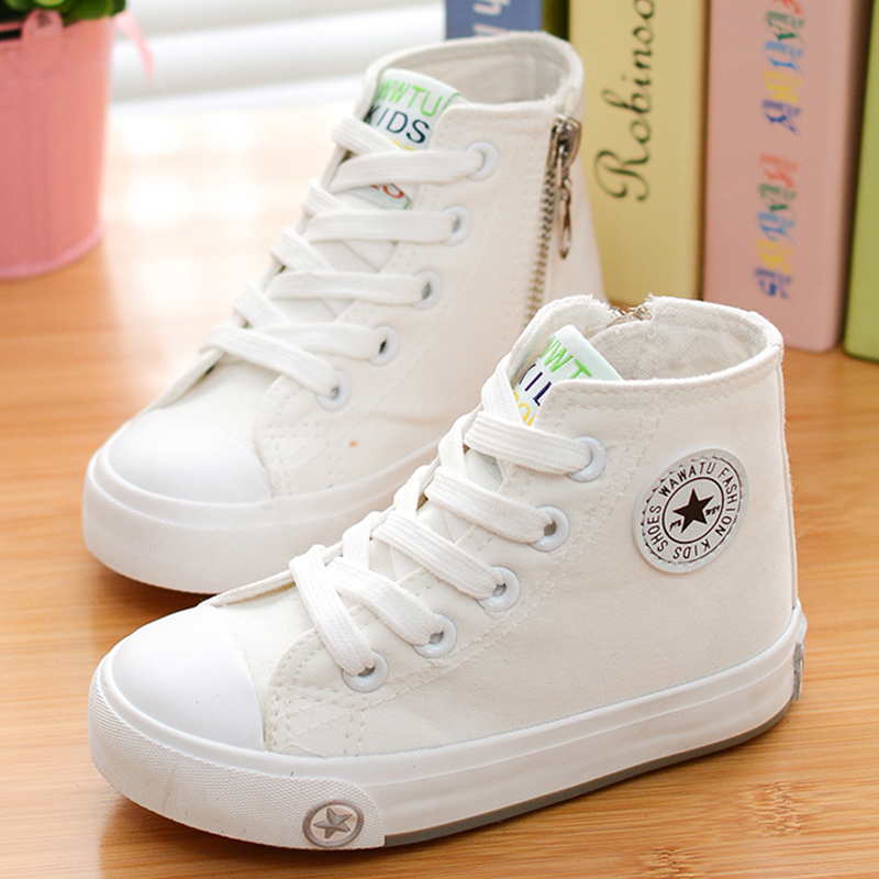 2018 spring and autumn child canvas shoes white high sneakers shoes sport shoes male shoes girls ...