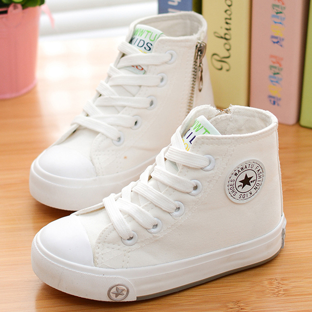 7e16e7ff78f 2018 spring and autumn child canvas shoes white high sneakers shoes sport  shoes male shoes girls