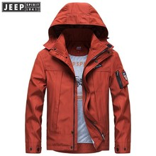 2018 Autumn Spring JEEP SPIRIT Brand Cargo Jackets Coats Quick Dry Hooded Clothes Long Sleeve Solid Color Fashion