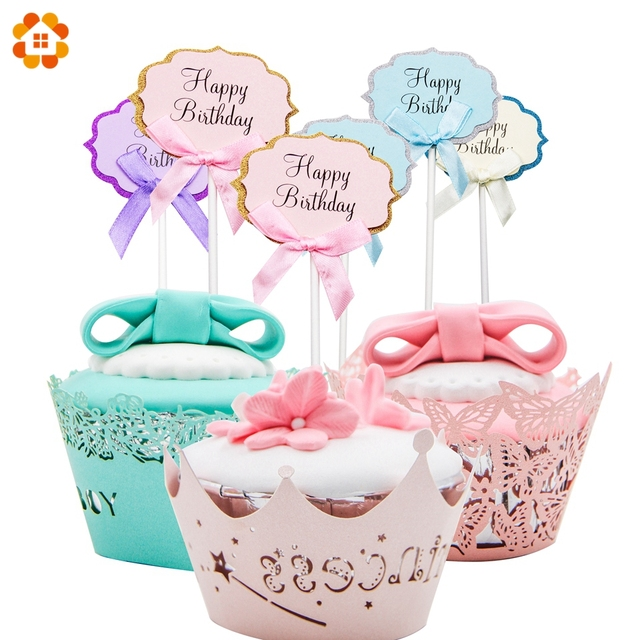 10pcs Happy Birthday Cake Toppers Cocktail Decoration Topper Picks
