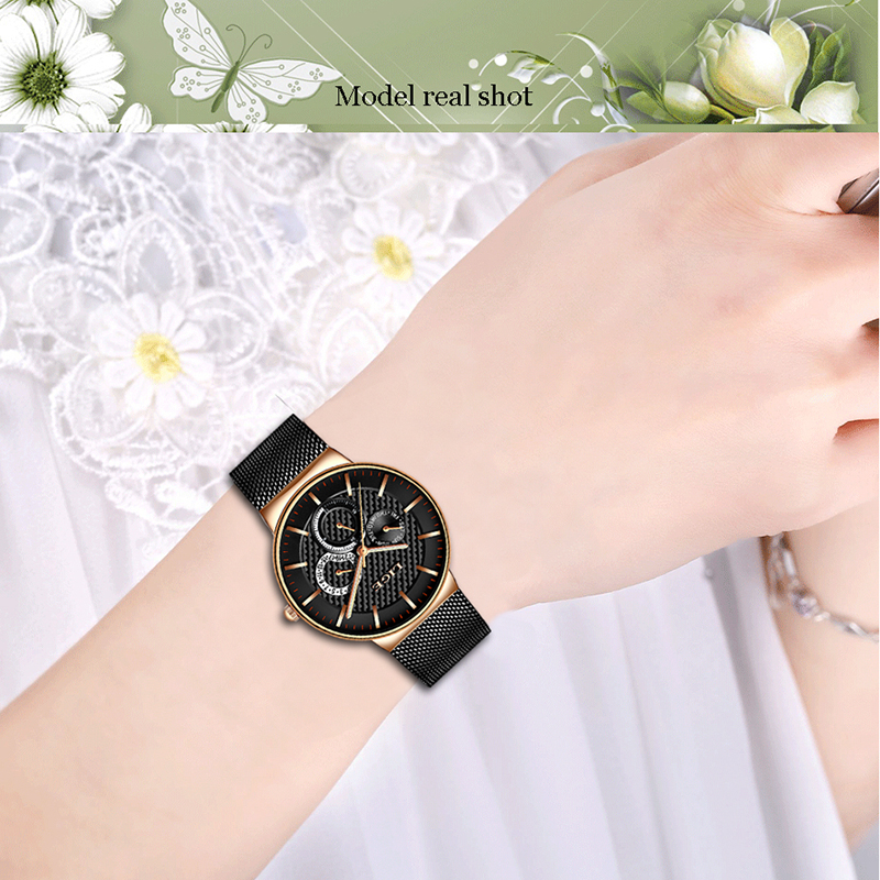 Image 5 - LIGE New Women Fashion Watch Creative Lady Casual Watches Stainless Steel Mesh Band Stylish Desgin Luxury Quartz Watch for WomenWomens Watches   -