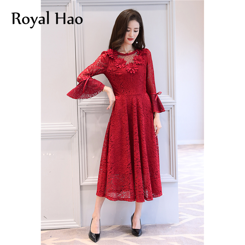 c2b1732f732 R&H autumn winter black red lace lady 5xl plus size Flare Sleeve Women  Autumn Lace Hollow