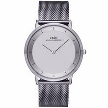 IBSO Basit Stil Moda Saatler Ultra Ince Paslanmaz Çelik Analog Saatler Erkekler için Bilezik Saatler Relogio Masculino 2221
