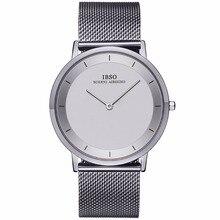 IBSO Eenvoudige Stijl Mode Horloges Ultra Dunne Rvs Analoge Horloges voor Mannen Armband Horloges Relogio Masculino 2221