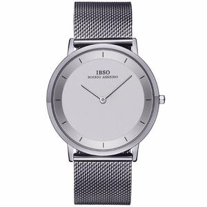 Image 1 - Ibso 간단한 스타일 패션 시계 울트라 얇은 스테인레스 스틸 아날로그 시계 남자 팔찌 시계 relogio masculino 2221