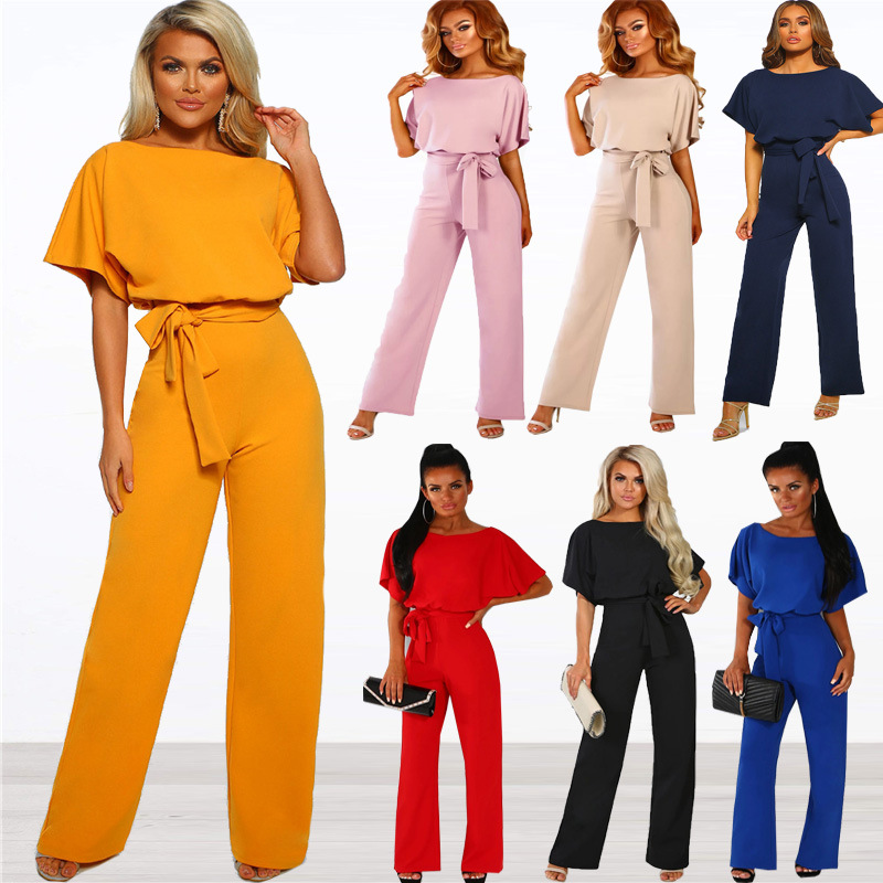 Women's Jumpsuit 2019 New 7-color Spring/summer Fashion Bat Short-sleeved Belted Jumpsuit Women