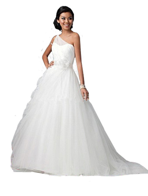 Vestido de baile A Linha de Um Ombro Tule Branco Debutante Vestido Para As Mulheres Jovens