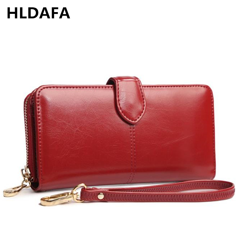 Women Wallets Oil Wax Leather Fashion Card Long Coin Purse Money Pocket Holders Of Wristlet Female Organizer Wallets Clutch Bag