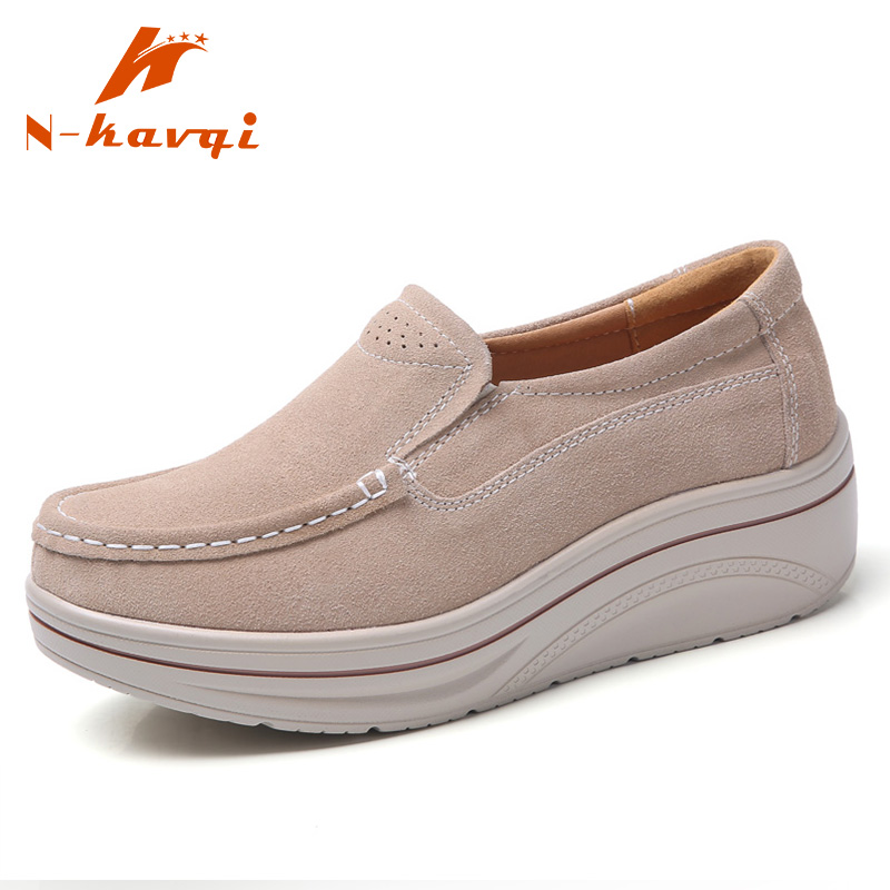 NKAVQI Women Genuine   Leather   Casual Flats Shoes Ladies Elegant   Suede   Moccasins Fringe Shoes Woman Shoes Slip On Female Loafers