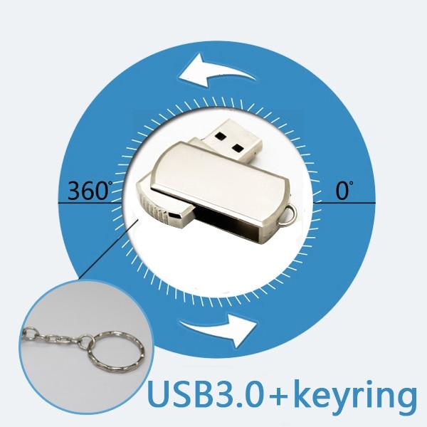 Obróć stal nierdzewna metalowa obrotowa 8 gb 16g 32 gb 64 gb Memory Stick Pendrive 3.0 USB Flash Drive 1 TB Pen Drive 2 TB 128 GB H2testw