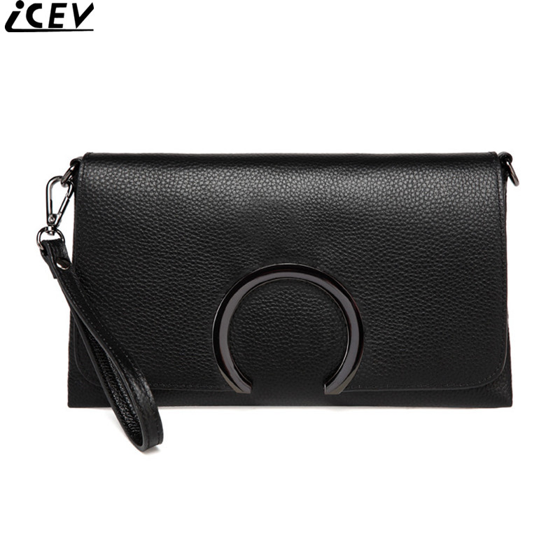 ICEV new fashion top handle bag genuine leather women envelope evening day clutch ladies wristlets shoulder crossbody bags solid