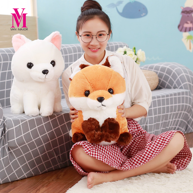 Vanmajor 1PC 40CM Cartoon Long Tail Fox Plush Doll Toy Stuffed Animal Fox Education Toys For Babys Birthday Gift Toy stuffed animal 44 cm plush standing cow toy simulation dairy cattle doll great gift w501