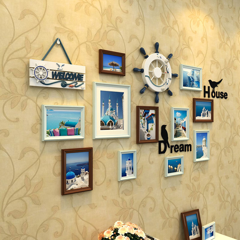11 pieces/set Photo frames wall decoration European solid wood ...