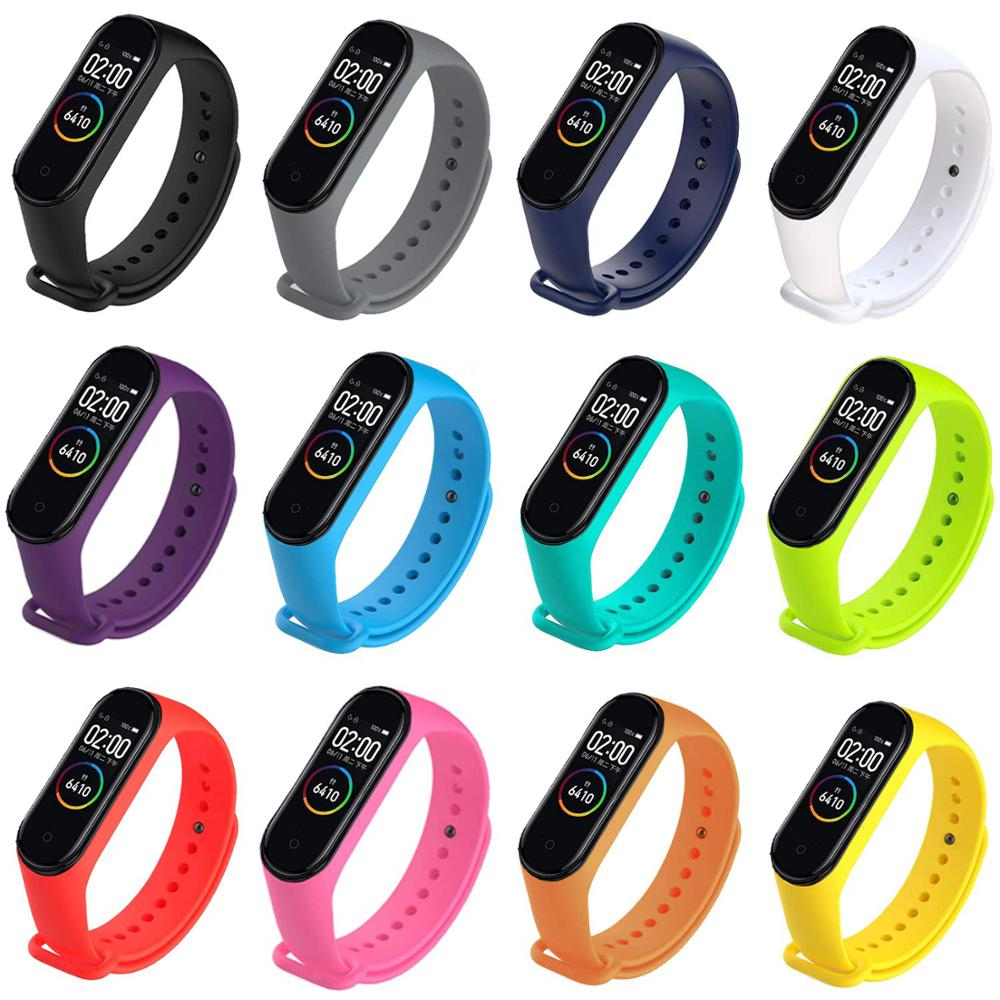 100Pcs/Pack Silicone Bracelet For Mi Band 4 Strap MiBand 4 Smart Color Screen Bracelet Wristband Miband 4 Accessories Band