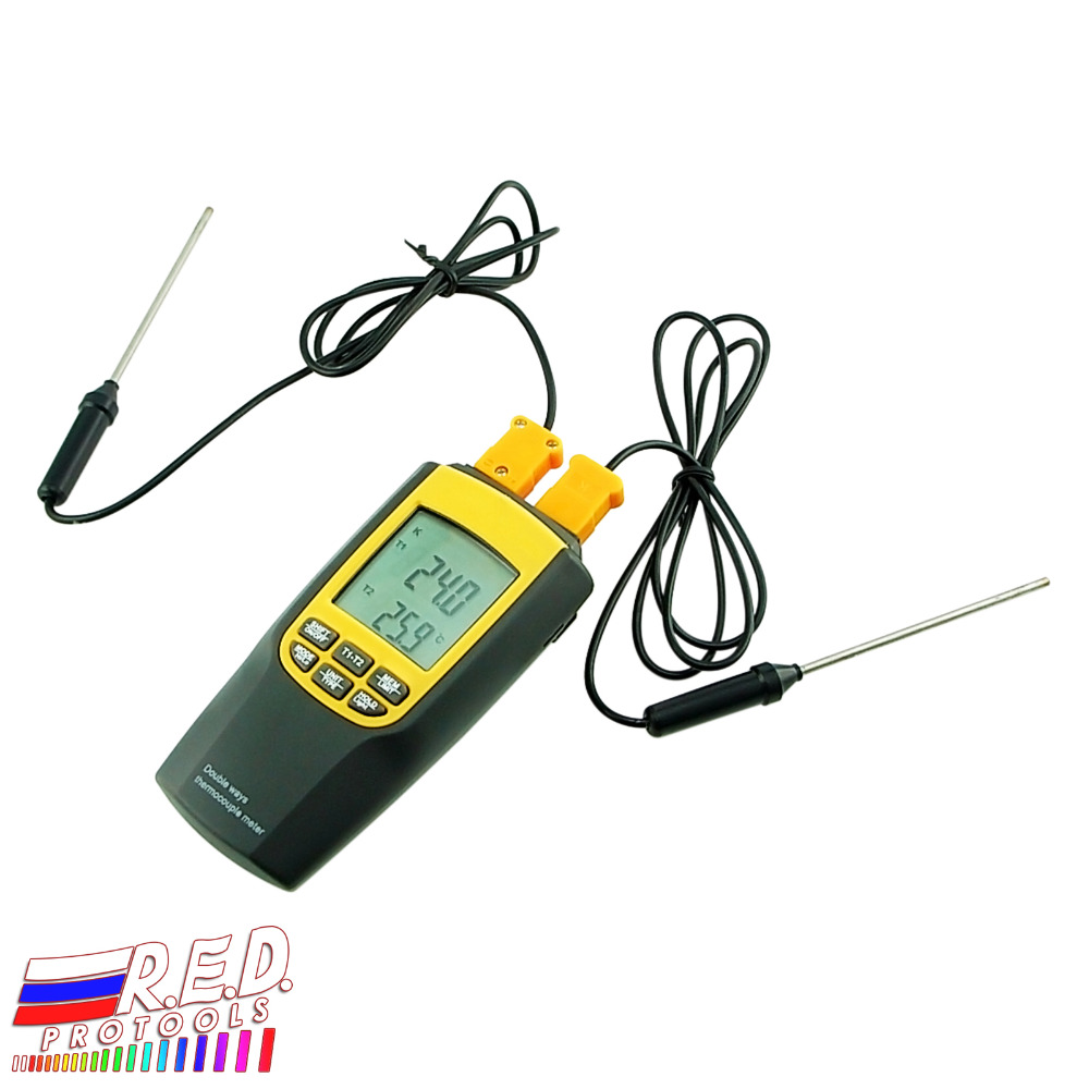 Handheld Digital LCD Display K J Type Thermocouple Thermometer 4 Probes Selectable degree C degree F