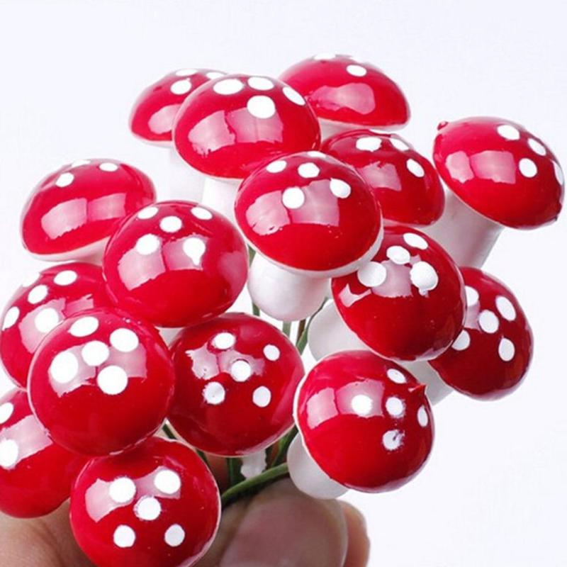 10pcs/set Mini Foam Mushrooms Micro Landscape Ornaments Artificial Plants Garden Flower Pot Decoration Statues