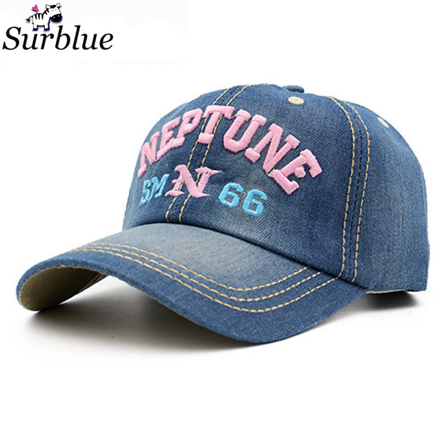 4836ae271dd Surblue 2017 fashion cotton blue jeans denim snapback hat for men women  distressed baseball caps casual unisex letter cap couple