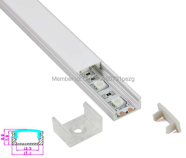 10 X 1M Sets/Lot U type Led tape extrusion profile and profilleisten alu led strip 5050 for recessed wall lights
