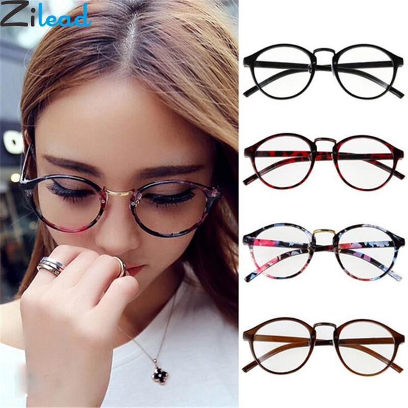 Zilead Retro Round Clear Lens Spectacle Optical Frame Floral Women Anti-radiation Plain Eyeglasses Student Myopic Glasses Frame