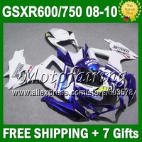 7gifts R750 For SUZUKI K8 08 09 10 HOT GSXR750 Blue white JM4A31 Body GSXR 600 750 GSXR600 2008 2009 2010 Fairing 46 # FIAT