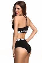 baby got back letter print maillot de bain 2016 dress black white bikini set bandage women biquini swimsuit female monokini