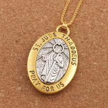 Two-tone ST.JUDE THADDEUS PRAY FOR US 2inch Pendant Necklace Travel Protection Necklaces 24inches N1778