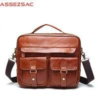Assez sac Handbag Leather Handbags Casual High Quality Bag Many Pockets Fashion Solid Man Bags Man Shoulder Handbags A4358/j