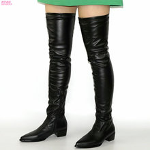 NAYIDUYUN   Thigh High Boots Women Pointed Toe Over The Knee Booties Low Heel Witer Warm Long Shaft Oxfords Platform Party Shoes