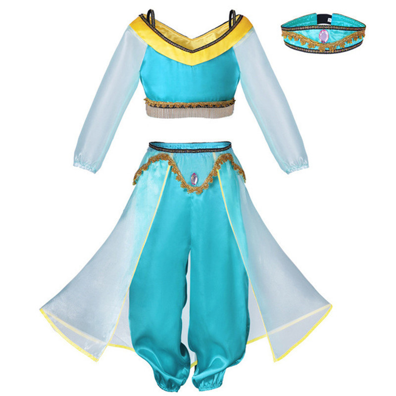 Kids Girls Princess Jasmine Fancy Dress Carnival Party Outfits Cosplay Costume