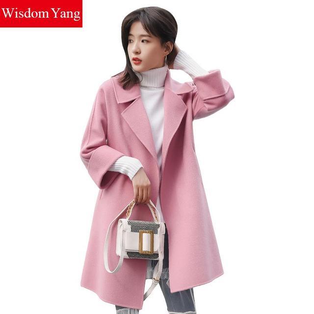 beautiful in colour exclusive range up-to-datestyling Wisdom Yang Winter Coat Women Sheep Wool Coats Red Caramel Green Pink  Turndown Warm Elegant Windbreaker Woolen Overcoat Trench-in Wool & Blends  from ...