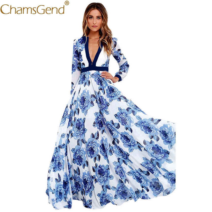 Women Sexy V Neck Long Dress Long Sleeve Blue Floral Print High Waist Maxi Long Beach Elegant Dress 80417