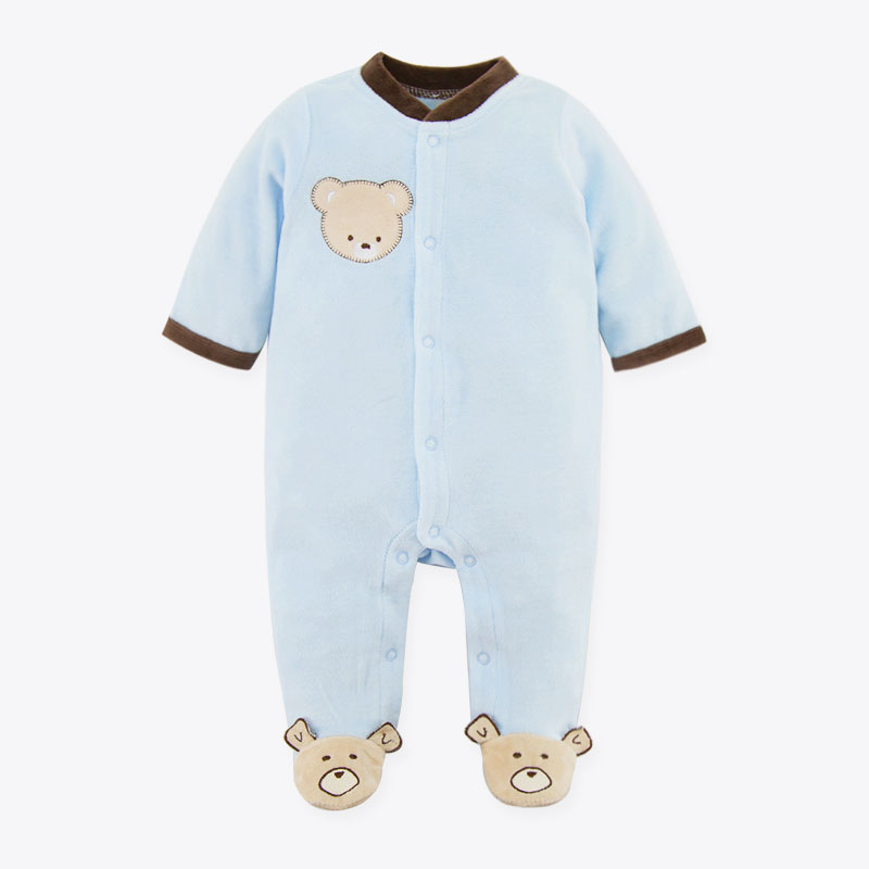 Newborn Baby Velvet Rompers Long Sleeve Bear Two Colors Romper Baby Jumpsuit Coral velvet Autumn/Winter Children Clothes