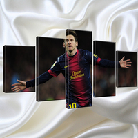 5 Piece Fc Barcelona Messi Canvas Printed Painting For Living Picture Wall Art HD Print Decor