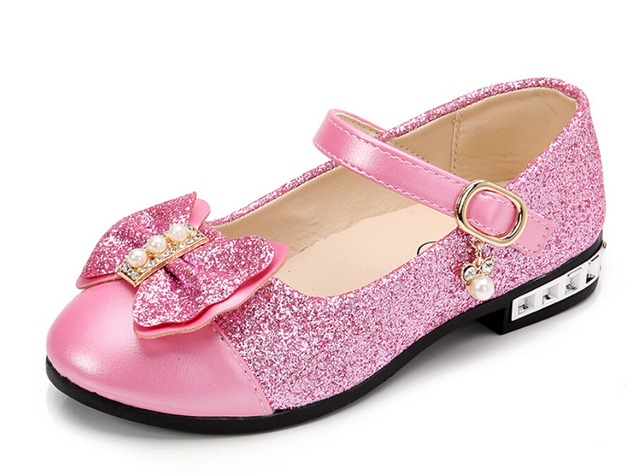 New 2019 Children Princess Shoes Girls Sequins Girls Wedding Party Kids Dress Shoes for Girls Pink / Rose Red/ Gold School Shoes