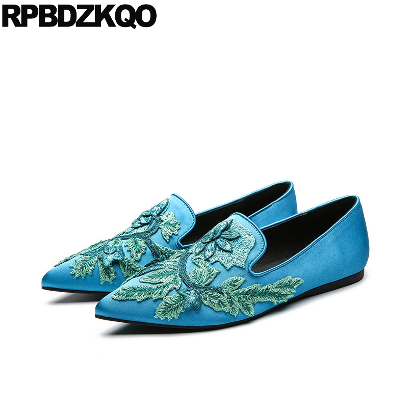 Pointy Purple Peacock Embroidery China Embroidered Shoes Floral Slip On  Flower Handmade Loafers Flats Silk Women Satin Designer 7d1e812fb681