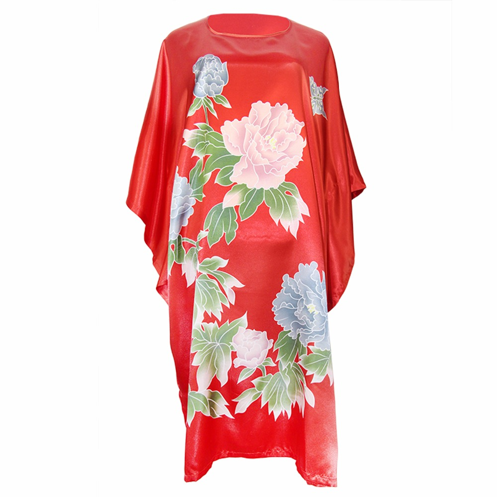Red Flower Nightwear Summer Loose Robe Rayon Night Dress Chinese Novelty Nightgown Sexy  ...