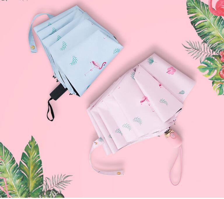 Nouveau petit frais automatique flamingo parapluie pliant noir en plastique parapluie 30% parasol parapluie créatif livraison gratuite