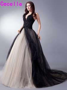 Image 2 - Black Nude Colorful Tulle Gothic Wedding Dresses With Color Non White Halter Bridal Gowns Non Traditional Robe De Mariee Real