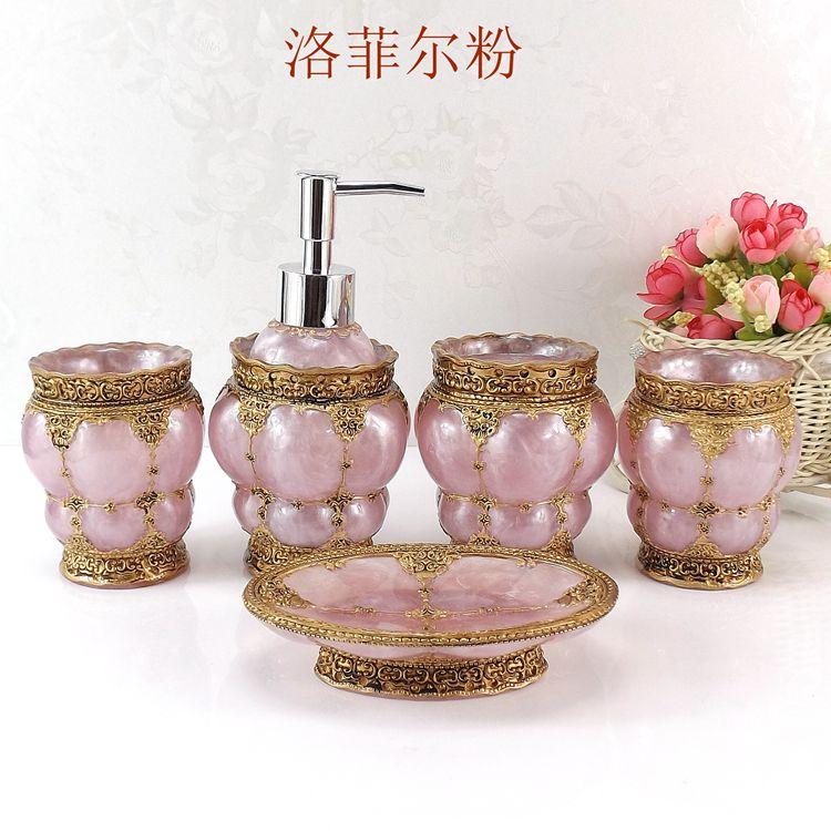 Résine salle de bain accessoires ensemble 5 pièces porte-brosse à dents Lotion distributeur savon anniversaire mariage cadeau