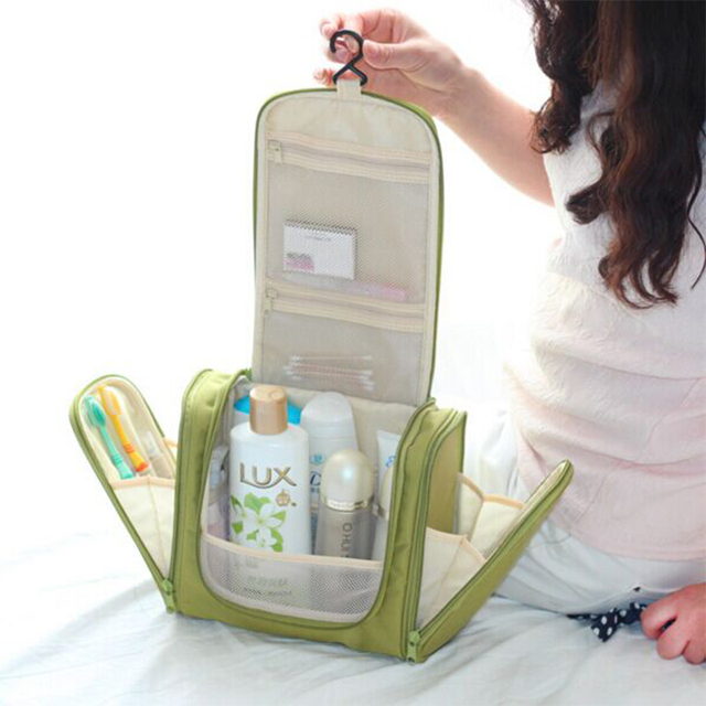 2017 Top Promotion Solid Casual Nylon Zipper Men's Women's Waterproof Cosmetic Makeup Bag Travel Organizer Case Hanging Storage