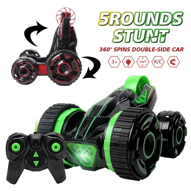 2018 RC Car Fast 6CH 5 Wheels Spinning RC Buggy Cars Rotation Crawlers RC Drift Flashing Stunt Car With Radio Remote Control Car