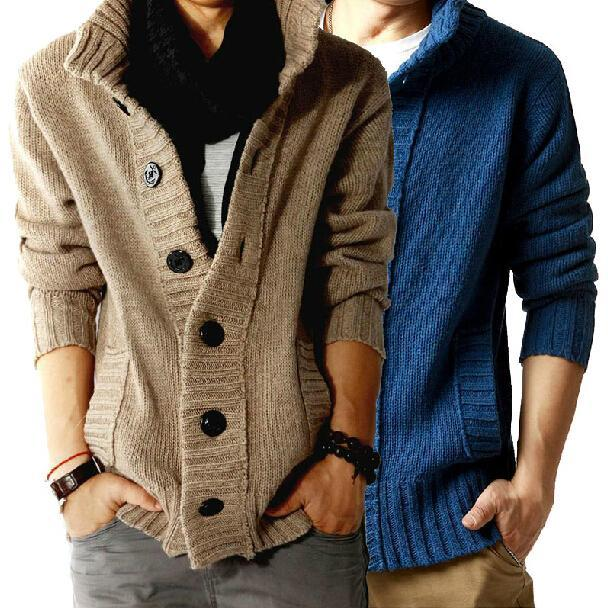Fast Shipping Fashion Big Lapel Coat Single-breasted Male Casual Cardigan Top Men Sweater Autumn Men's Outerwear Clothing 2M0013