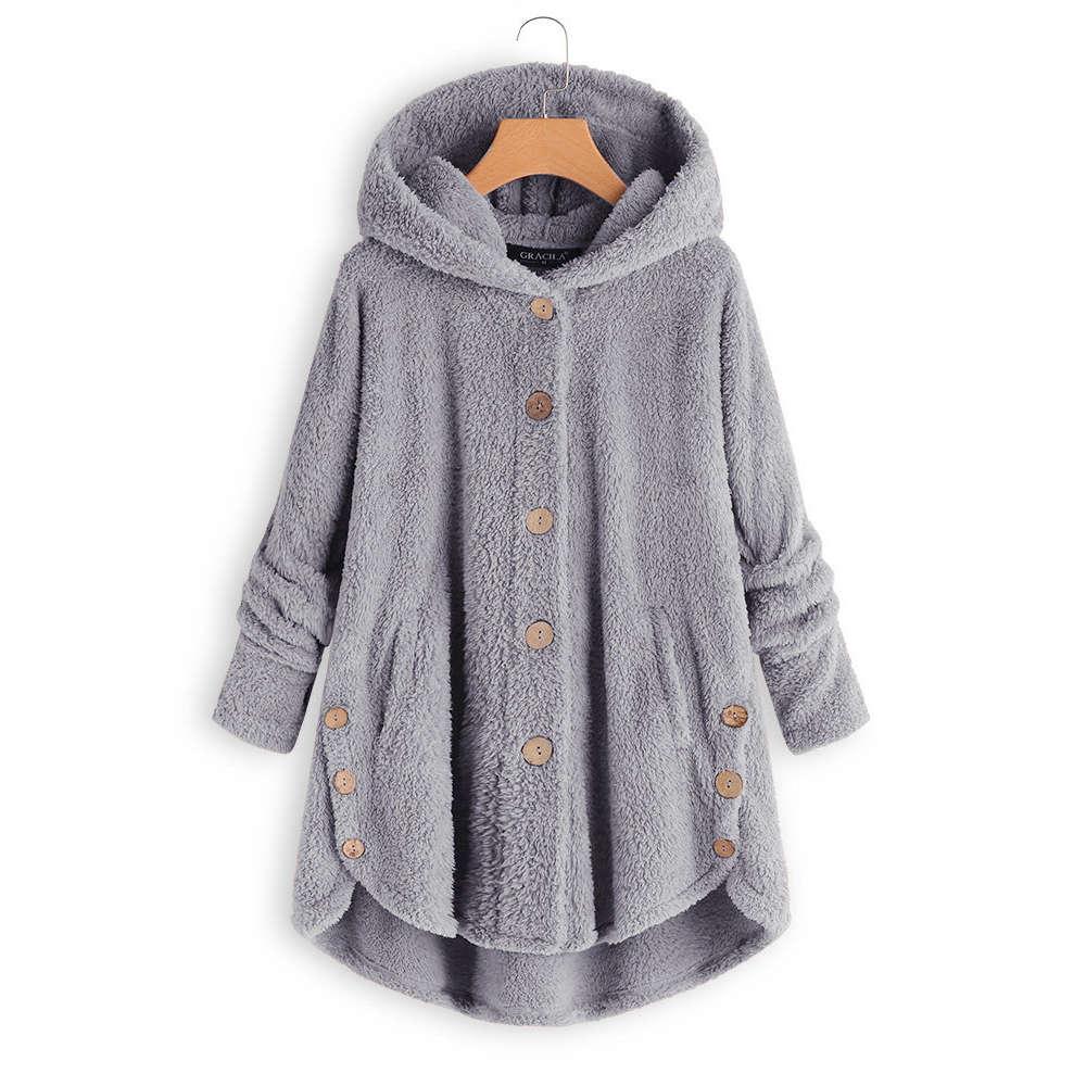 Fleece Hooded Asymmetrical Hem Button Coat 2018 Winter Warm Women Casual Single Breasted Solid
